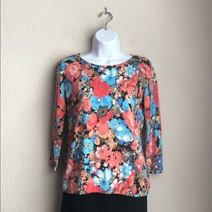 Talbots Petite Floral Print Button Up Sweater